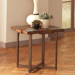 Steve Silver Furniture - Steve Silver Winchester Slate Top End Table w/ Gauge Metal Base - A smaller square version of the unique cocktail table.