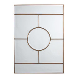 Kathy Kuo Home - Bronsan Vintage Brass Geometric Paneled Beveled Mirror - The beauty of this vintage brass mirror lies in the simplicity of its clean, modern design. Geometric shapes surround a center circle, gracefully outlined by slender, antiqued metal framing.  Use this mirror to open up the living space in your urban loft, or try hanging lengthwise to add height to a smaller sized room.