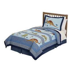 Pem America - Dino Dave Blue Full / Queen Quilt with 2 Shams - When did dinosaurs rule the earth?  Bring back the past with icons of a lost world.  This quilted bedding pattern is 100% cotton face material with applique and embroidery for a solid construction.  The quilt face features large applique icons of dinosaurs on a background of light blue with coordinating blue plaid prints used to frame the quilt. This is a perfect bedding set for boys or girls interested in finding that lost world. Set includes the following bedding: 1 full/queen quilt (86x86 inches) and 2 standard shams Face is 100% prewashed cotton. Fill is 94% cotton, 5% Polyester, 1% other fibers. Machine washable.