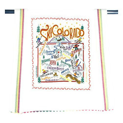 CATSTUDIO - Ski Colorado Dish Towel by Catstudio - This original design celebrates Ski Colorado.  This design is silk screened, then framed with ahand embroidered border on a 100% cotton dish towel/ hand towel/ guest towel/ bar towel. Three stripes down both sides and hand dyed rick-rack at the top and bottom add a charming vintage touch. Delightfully presented in a reusable organdy pouch. Machine wash and dry.