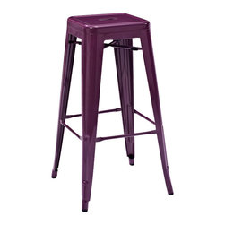 Crosley Furniture - Crosley Furniture Amelia Metal Cafe Barstool in Purple - Set of 2 - Originally made famous in the quaint bistros of France, these midcentury replicas of original Cafe seating will offer a dose of nostalgia combined with careful consideration for your wallet.  This inspired revival evokes a sense of a true vintage find. (Sold in Pairs)