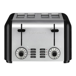 Cuisinart - Cuisinart 4-Slice Compact Stainless Steel Toaster - Talk about the toast of the town. You'll make breakfast better with this stainless steel classic. Compact enough for the smallest kitchen, it's got reheat and defrost controls, six shade settings and a slide-out crumb tray for quick and easy cleanups.