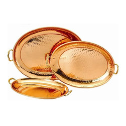 Old Dutch International - 3-Pc Decor Oval Tray - Copper plating and brass handles. Made from stainless steel. Small: 15.25 in. L x 9 in. W x 1 in. H (2 lbs.). Medium: 16.75 in. L x 11 in. W x 1 in. H (2 lbs.). Large: 19.25 in. L x 13 in. W x 1 in. H (2 lbs.)Set of 3 Decor Copper Oval Trays. Each hammered tray is hand-made, each an original work of art. Perfect for an artful buffet display, the solid brass handles make them equally at ease passing hors d'oeuvres at a cocktail party. When not in use make a decorative statement on your sideboard or hutch.  A special clear finish deters tarnishing.