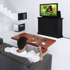 """Elevate TV Lift Cabinets for Flat Screen TV's Up To 42"""" - The stylish yet affordable Elevate TV Lift Cabinet features Touchstone's new Quick Lift technology in a fully finished wood cabinet that fully cycles up or down in less than 10 seconds with the push of a button."""