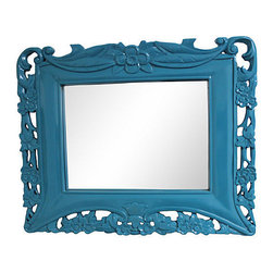 Consigned Blue Lacquered Tropical Mirror - A great vintage mirror newly lacquered to a high-gloss finish. Vintage 1910-1950. Very good condition, some wear.