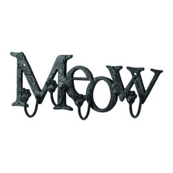 Woodland Imports - 5 Metal Cat Meow Letters Hooks Foyer Wall Accent Decor - Classic and modern style 5 metal cat meow letters with hooks foyer, living and dining room wall accent decor