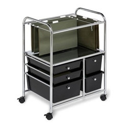 5 Drawer Hanging File Cart - Honey-Can-Do CRT-01512 5 Drawer Hanging File Rolling Office Cart, chrome/black.  A contemporary, mobile filing cart with five pull-out drawers. The top filing space holds legal or letter hanging files to organize any size documents and the perforated metal base supports heavy files.  Five black plastic drawers with chrome pull knobs slide open to store paper and supplies. The cart moves easily on four smooth rolling casters then locks in place. Hanging folders not included.