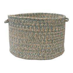 "Colonial Mills, Inc. - Tremont, Teal Utility Basket, 18""X12"" - Soft but sturdy, this wool-blend braided basket is ideal for the kids' room, the playroom, the laundry room or poolside. Made in the USA and available in this exquisite pale neutral, it's a clever way of keeping clutter under control."