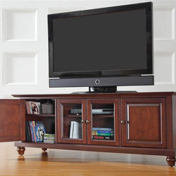 Crosley Furniture - Campbridge 60 in. Wood Low Profile TV Stand w - Cambridge Collection. 3 Adjustable shelves. 4 Beautiful raised panel doors. Accommodates most 52 in. TVs. Solid hardwood and veneer construction. Hand rubbed multi-step finish. Tempered beveled glass doors. Wire management. Adjustable levelers in legs. Antique Brass hardware. Assembly required. 1-Year manufacturer's warranty. 59.75 in. W x 18 in. D x 22 in. H (93.5 lbs.)