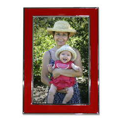 Lawrence Frames - Silver Plated 5x7 Metal with Red Enamel Picture Frame - A high quality silver plated frame with high polished red enamel.  This silver plated and lacquer coated frame has a high polished finish.  High quality black velvet backing with an easel for vertical or horizontal table top display, and hangers for vertical or horizontal wall mounting.    Heavy weight 5x7 metal picture frame is made with exceptional workmanship and comes individually boxed.