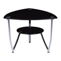 Global Furniture - Global Furniture USA T601 Triangular Black Glass End Table with Chrome Legs - This end table complete with black tempered glass and chrome accents are all you need to enhance the look of your living space.