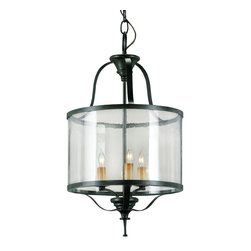 Currey and Company - Ardmore Lantern - The 3-light Ardmore Lantern is simple elegance with a graceful Old Iron wrought frame and curved glass sides.