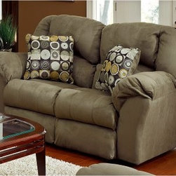 Catnapper Voyager Loveseat - The Voyager Loveseat achieves the perfect balance between style and comfort. Use it to add luxury to your living room or office; this loveseat is certain to become your favorite place to sit. It has pillow pad seating and dramatic baseball stitching, and is covered in microsuede, an extremely durable fabric that resists the toughest stains, soil, and fading. Microsuede is very easy to care for, and in most cases, a little soap and water is all that is required to restore the fabric to its original state. Metal mending plates are used in the rear of the seat back instead of staples for years of trouble-free operation and maximum strength. Premium eight-gauge sinuous No-Sag steel-wire seat springs provide years of superior support and comfort so that your loveseat will remain comfortable.Catnapper furniture designs and engineers each item with the highest standards so you, the original purchaser, have the assurance of a quality product. In the rare event of a problem with any of the Catnapper products, a limited warranty is offered for piece of mind.Outstanding Features of this Catnapper Loveseat:Omega Reclining Mechanism, with a limited lifetime warranty, is the smoothest, quietest reclining mechanism, precision-manufactured for years of operation.100% steel seat box, the strongest seat box ever manufactured, means no warping or splitting in this critical area.Direct drive cross bar ensures that both sides of the mechanism operate together, in sequence for longer life.Unitized steel base, the strongest and most durable rocker base in the recliner industry. Resists bending or wear.Heavy 8-gauge sinuous steel springs in the seat provide strength, comfort, and flexibility. Springs are inserted into the steel seat box with computer-positioned steel clips. No wood to warp or split.Only premium-grade, 8-gauge sinuous No-Sag steel-wire seat springs are used to provide superior support and comfort in the seating system.Each corner joint of the so