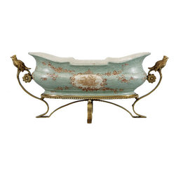 Oriental Danny - Porcelain Planter with Bronze Ormolu - Feature this planter in a fine dining or living room and have a little Downton Abbey style working for you. Ornate and genteel, this porcelain base with bronze ormolu bird handles is both fetching and functional.