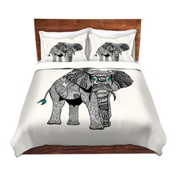 DiaNoche Designs - Duvet Cover Twill by Pom Graphic Design - One Tribal Elephant - Lightweight and super soft brushed twill Duvet Cover sizes Twin, Queen, King.  This duvet is designed to wash upon arrival for maximum softness.   Each duvet starts by looming the fabric and cutting to the size ordered.  The Image is printed and your Duvet Cover is meticulously sewn together with ties in each corner and a concealed zip closure.  All in the USA!!  Poly top with a Cotton Poly underside.  Dye Sublimation printing permanently adheres the ink to the material for long life and durability. Printed top, cream colored bottom, Machine Washable, Product may vary slightly from image.