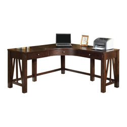 Riverside Furniture - Riverside Furniture Castlewood Corner Desk in Warm Tobacco - Riverside Furniture - Computer Tables - 33524 - Riverside's products are designed and constructed for use in the home and are generally not intended for rental, commercial, institutional or other applications not considered to be household usage.