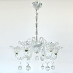 Large Six Arm Murano Chandelier with Hanging Crystal Spheres - Dimensions:H 50''  × D 36''