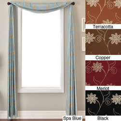 None - Countess 6-yard Scarf - Chain-stitch embroidery and a silky drape give this faux-silk scarf curtain an elegant look that will brighten up your design theme. Available in your choice of stylish colors,this scarf valance will fetch you lots of compliments from friends.