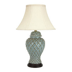 "Oriental Furniture - 23"" Classic Temple Jar Lamp - This porcelain table lamp has been fashioned by hand for a rustic, sculptural appearance perfect for eclectic and new traditional decor styles. The lovely pale blue glaze has been applied by hand for a nuanced, layered look that complements and enhances the textures of the lamp. The smooth wooden base and curved lampshade accentuate the shape of the lamp for a handsome appearance ideal for bringing light and life to any room."