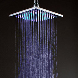 """8 Inch Brass Square LED 7 Colors Rain Shower Head - LED shower heads' philosophy is to bring a fun and modern feel into the bathroom. Color your daily shower with this beautiful color changing LED shower head. The LED light is powered by water flow, and will be activated once the water is turned on. The color of the LEDs is changing continuously in 7 different colors. Designed to connect to standard 1/2"""" threaded shower arms."""