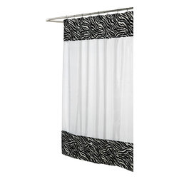 """""""Serengeti"""" Faux Fur-Trimmed Shower Curtain - """"Animal Instincts"""" Collection Faux Fur Trimmed Shower Curtain, Pattern Name """"Serengetti"""". Step into the Savanna with """"Serengeti,"""" our Solid White Shower Curtain trimmed with Zebra Faux Fur. Made to fit standard-sized bathtubs or showers (curtain measuring 70'' w x 72'' l), """"Serengeti"""" is made with a 100% polyester, fully machine-washable fabric lined with rust-proof metal grommets to prevent unsightly tears.  Additionally, """"Serengeti"""" comes with a PVC and Chlorine-Free PEVA liner. Part of our Animal Instincts Collection, """"Serengeti"""" coordinates perfectly with our """"Zebra"""" Faux Fur Bath Mat and """"Zebra"""" Resin Shower Curtain Hooks, each sold separately. Machine wash in warm water, tumble dry, low, light iron as needed, but do not iron fur"""