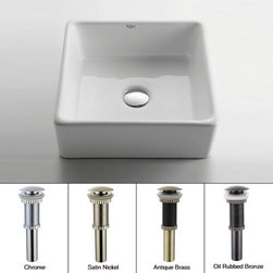 """Kraus - Kraus KCV-120-CH Chrome White Ceramic 15"""" Ceramic Vessel Bathroom Sink - Product Features:Fully covered under Kraus  limited lifetime warrantyConstructed of the finest grade vitreous chinaNon-porous glossy, baked on finish is highly durable and scratch resistantHandmade by skilled artisansAdd an elegant touch to your bathroom with a Kraus ceramic wash basinThis bathroom sink will enhance any home improvement remodelDesigned for above-the-counter installationIncludes pop-up drainStandard 1-3/4"""" drain opening - designed to easily connect to waste lines, including P-trapsExtra secure mounting assemblyAll necessary mounting hardware includedProduct Technologies and Benefits:The Vessel Advantage: Beyond uniqueness and their distinctive modern design, vessel sinks also present a couple of functional advantages. Because the sink is raised off the countertop, overall bathroom clutter presents less of an issue as items are merely level with or below the sink rim, not towering over it and in the way of your arms. Furthermore, bowl-shaped vessel sinks actually free up countertop space directly under the sink rim. Lastly, vessel sinks are much better at containing splashes, making face and hand washing less messy.Handcrafted Quality: Kraus vessel sinks are handcrafted in a very labor-intensive process. Starting with only the finest materials, artisans work each sink through its various production stages, with complete control over the entire process. By using hands to get the work done, each Kraus vessel sink is a functional work of art that has seen great care and thought put into its creation. The end result is a flawless sink that shows its attention to details.Heavily Certified: Kraus has gone to great lengths to be able to provide you, the homeowner, the rest-easy satisfaction knowing that your sink is certified and"""