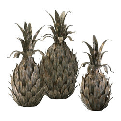 Cyan Design - Cyan Design Sculptured Varieted Pineapples, Set of 3 - This pack of three Cyan Design sculptured variated pineapples set is a great way to add texture and interest to any space in your home. The pineapples feature an inspired look that has been constructed entirely out of iron for a more masculine appeal. The multi-color finish accentuates the look beautifully.