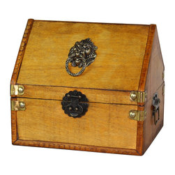 "Quickway Imports - Small Pirate Chest with Lion Rings - Size: 8"" x 6.8"" x 7"""