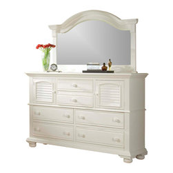 American Woodcrafters - High Dresser with Mirror in Eggshell White Finish - Cottage Traditions Collection. Set includes high dresser with matching landscape mirror. High dresser with 2 doors, 6 drawers and 2 adjustable shelves. Solid wood hardware of knobs in matching finish. Drawers feature conventional dovetailing. Veneer drawer bottoms. Center guided, metal-on-metal, plastic-on-plastic with positive action drawer stops to prevent drawers from being accidentally pulled from cases. Drawers are 14.5 in. front-to-back for ample storage. Corner blocks and cleats are glued and screwed in place. Each case has dust-proofing bottom for clothing protection. Mirror supports are shipped with the product. Beveled glass in mirrors. Signature louvered inserts. Eggshell White with fly-specking finish. Solid Pine, Pine veneer and MDF construction. 1-Year manufacturer's warranty. High dresser: 18.5 in. D x 67.63 in. W x 45 in. H (225.9 lbs.). Landscape mirror: 2.5 in. D x 59.38 in. W x 36.33 in. H (50.3 lbs.)