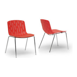 Wholesale Interiors - Florissa Red Plastic Modern Dining Chair, Set of 2 - The markedly boisterous temperament of the Florissa Contemporary dining chair makes this a joy to add to any room. Though arguably best suited as a dining room Chair, this stackable Chair can easily make its way into any space that needs quick, easy Seating: just stack into a corner or closet when not in use. Sold as a set of two, the Florissa Designer dining chair is made with a hard red molded plastic Seat and a shiny chrome-plated steel base finished with protective non-marking feet, a boon for sensitive flooring. Packaged while fully assembled in a cardboard carton, the Florissa modern Dining Room Chair is easy to clean: just wipe with a damp cloth. Also available is the Florissa dining chair in black as well as the similar Ximena dining chair in orange or white (sold separately).
