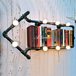 Loft Industrial BookShelf 8 Lights wall Sconce - Loft Industrial BookShelf 8 Lights wall Sconce