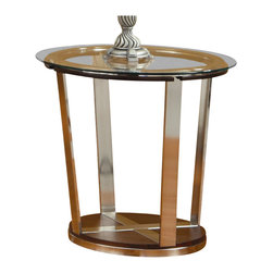 Homelegance - Homelegance Dunham Beveled Glass Top End Table in Medium Brown - Homelegance - End Tables - 330404 - The sleek style highlights the unique shape and compliments the wood, glass and metal that makes up the Dunham Collection. Metal framing is inlayed into the wood base and rises to support the beveled glass tabletops. The medium brown wood tone is perfectly highlighted by the metal's bronze over-finish. Cocktail table has casters for easy movement.