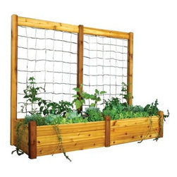 Gronomics 34L x 95W x 19H in. Raised Garden Bed with Trellis Kit - Put that green thumb to use with the Gronomics 34L x 95W x 19H in. Raised Garden Bed with Trellis Kit. This kit includes a spacious raised bed and trellis additions that let you cultivate all sorts of flowers, veggies, and climbing plants. Made of cedar, this modular system is easy to put together and is naturally weather, mold, and insect resistant. The raised bed system makes tending soil a breeze as it minimizes weed growth and doesn't need tilling or soil amending. Use the trellis sections to grow climbing plants or veggies. It's easy to assemble and is ideal for most any type of plants or flowers.About GronomicsWith Gronomics, you no longer need a big yard to do your gardening. The Minnesota-based company manufactures unique, ergonomically designed 100% Western Red Cedar garden planters that offer tool-free assembly. Gronomics makes everything from elevated beds, raised beds, planter benches and much more, all of which are designed to make gardening easy and more accessible for all ages. Herbs, vegetables and flowers can all be tended to while standing or sitting and the company's unique designs even allows easy access for those in wheelchairs.