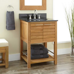 """24"""" Salinas Teak Vanity - With its contemporary and versatile design, the 24"""" Salinas Teak Vanity beautifully updates a bath or powder room. An ideal wood option for high-moisture areas, teak adds a warm appearance to any space. The Salinas Vanity offers two storage options; a two-door cabinet and an open lower shelf."""