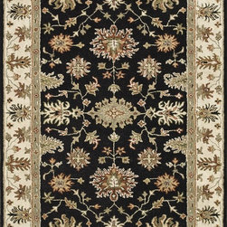 """Loloi Rugs - Loloi Rugs Fairfield Collection - Black / Ivory, 7'-6"""" x 9'-6"""" - �Updated traditional' may seem like the perfect paradox, but that's exactly the style you can expect from the Fairfield Collection. These classic designs have been refashioned to feature narrower borders and less ornate pattern for a look that's timely, yet timeless. And while your eyes admire the design and colors, your feet will thank you for the feel of thick, all wool pile. Hand-tufted in India, Fairfield rugs are a new classic for today."""