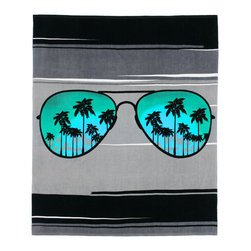 None - Aviator Sunglasses Beach Towel-for-Two - Make a style statement with this oversized towel,perfect for the pool or laying out under the sun. Made of comfortable cotton and featuring a cool design of aviator sunglasses and palm trees,this beach towel is a great choice for anyone.
