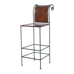 "William Sheppee - 26"" Pub Leather and Iron Counter Stool - The scroll back Iron and Leather Counter Stool has a rustic feel. Hand stained genuine leather with hand forged steel will complete any bar or pub table. Also available in bar height. Features: -Counter height stool. -Pub collection. -Black finish. -Leather on hand forged steel construction. -Hand stitched leather. -Scrolled back for seating comfort. -Dry dust or use leather wipe for cleaning. Specifications: -Seat Overall dimensions: 26"" H. -Overall dimensions: 41"" H x 14"" W x 16"" D."