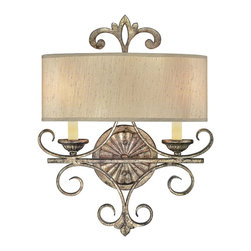Savoy House - Savoy House Savonia Wall Sconce in Oxidized Silver - Shown in picture: Designed by Brian Thomas; Elegance comes to life in Savonia with a rich - deeply toned Oxidized Silver finish - exquisite filigreed ornamentation and an abundance of tone on tone variation.Layers of tiered candles accompanied by Dupioni silk shades add to this dramatic - yet graceful design.