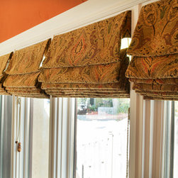 Willow Glen Home - Roman shades.  Notice the pattern match across all four shades.