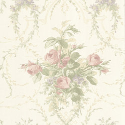 Beacon House - La Belle Maison Verdant Wallpaper - Give your walls the French garden treatment, with this romantic trellising pattern of sweet pink rose bouquets. The cream backdrop is the perfect complement to this elegant, non-woven wallpaper.