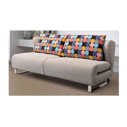 Zuo Modern - Sleeper Sofa in Cement - Includes color block back cushion. Folds to a large sleeper. Comfortable, stylish and flexible. Fabric body. Steel legs. Warranty: One year. Assembly required. Sofa seat: 74.8 in. L x 28.3 in. W x 16.9 in. H. Sleeper seat: 74.8 in. L x 56.3 in. W x 11 in. H. Sofa overall: 74.8 in. L x 36.6 in. W x 30.7 in. H. Sleeper overall: 74.8 in. L x 64.6 in. W x 30.7 in. H. Weight: 143 lbs.