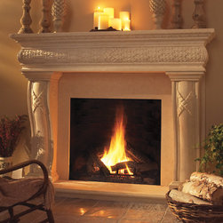 Jameson Stone Fireplace Mantel - The Jameson majestic stone fireplace mantel surround is beautifully crafted of composite stone with natural variations in color and texture. The mantel is lightweight, making it very easy to install and much less costly than traditional solid stone mantels.  - Mantels Direct