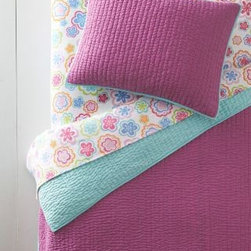 Garnet Hill - Garnet Hill Flip-Side Reversible Quilt - Double/Queen - Magenta - This colorful reversible quilt, offering two bold looks in one, is always a hit. Airy cotton voile front and back with pure cotton fill. Hand-quilted stitching and contrast binding for added pop. Sham has tie closures.