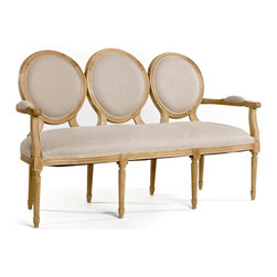 Kathy Kuo Home - French Country Louis XVI Oval Back Linen Medallion Dining Bench - This settee is a combination of two distinct styles. A Louis XVI traditional oval back chair design combined with fluted decorative legs finished with an elegant Swedish Gustavian style linen and distressed wood. This elegant settee is both vintage, yet formal and traditional enough for any living room environment.