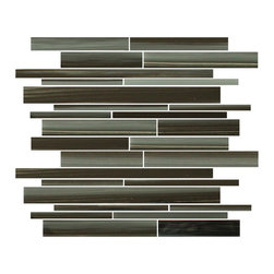 Rocky Point Tile - Starry Night Linear Glass Mosaic Tiles, 10 Square Feet - Introducing our new Starry Night linear glass mosaic tiles. A mix of hand painted black and gray brush strokes with a slightly blue undertone. Although this is a darker tile it pops nice and brightly with a lighter grout color.
