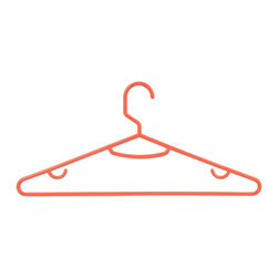 Honey Can DO - Tubular Hangers - Coral, Set of 60 - Versatile and lightweight, our coral tubular hangers are perfect for polos, t-shirts, and tank tops. The large rod hook is designed to fit over any closet bar. Integrated accessory hooks keep garments with straps in place.