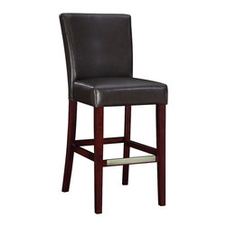 "Powell - Powell Brown Bonded Leather Barstool - The brown leather bar stool is the perfect piece that is sure to complement any decor. The sleek ""Light merlot"" finished legs and the ""Antique brass"" foot rest add a touch of interest to this somewhat simple piece. The stool is covered in dark brown bonded leather. The seat height measures 30-1/4"". Some assembly required."