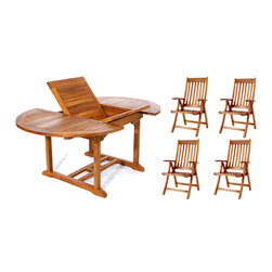 All Things Cedar - 5pc. Teak Oval Extension Table Folding Arm Chair Set - This 5pc. Promo Set Includes 1 TE70 Rectangle Extension Table + 4 TF44 Teak Folding Arm Chairs. Item is made to order.