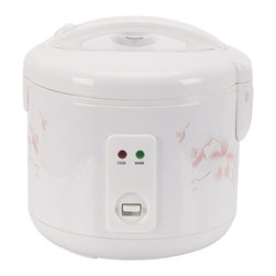SPT Appliance - 10-cups Rice Cooker - Easy one-button operation. Automatic keep warm system. Cool touch exterior. Pressure-sealed inner locking lid. 3-Dimensional heating from top, sides and bottom . Cook and Keep Warm indicator lights. Removable non-stick inner pot. Added cooking versatility with supplied steam tray. Condensation collection cup traps excess steam droplets . Safety lock button. Accessories included: steam tray, measuring cup and spatula. ETL certified. Included in Box: Steam tray, measuring cup and spatula. No assembly required. 11.18 in. L X 10.43 in. W X 11.22 in. H (5.95 lbs.)Cook various dishes with this rice cooker. You can steam rice, porridge, soup, stew and much more. Features one-touch operation and convenient carrying handle. Automatically switches to WARM mode.