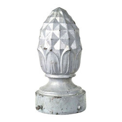 Used Vintage Cast Iron Pineapple Lamp Post Finial - We love how the familiar shape of a beloved tropical treat has been stylized to look much more geometric on this large, heavyweight cast iron finial salvaged from an outdoor street lamp. This decorative doodad features  mounting screws and was painted a gray finish and distressed.